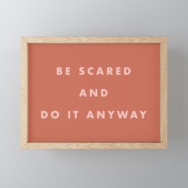 Inspirational Bravery Quote in Terra Cotta Framed Mini Art Print