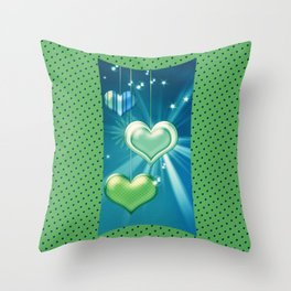 Green & Blue Hearts on Strings Throw Pillow
