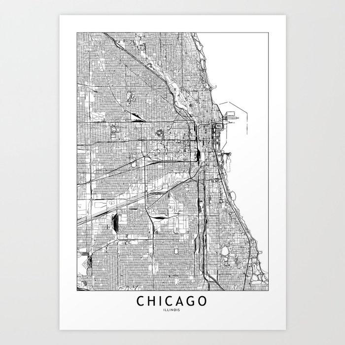 Chicago White Map Kunstdrucke