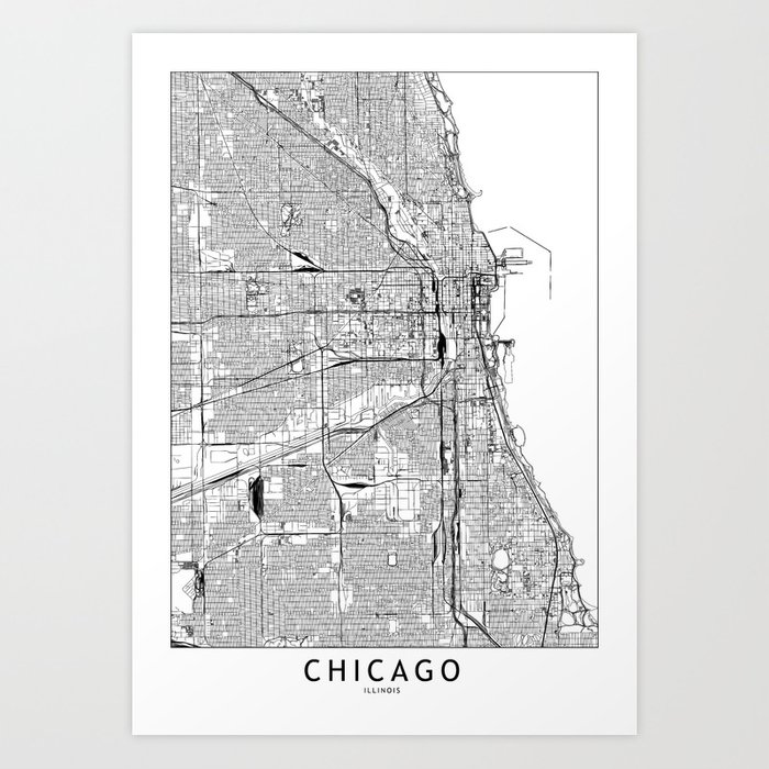 Chicago White Map Art Print by multiplicity on printable map of chicago attractions, map of north lake shore drive chicago, printable road map of illinois, printable map of downtown chicago magnificent mile, printable map of illinois highways, printable chicago skyline, printable downtown chicago city map, whites bridge chicago, printable map of navy pier chicago, printable map of southern illinois, printable map of northern illinois, map of bad dangerous neighborhoods in chicago, printable map of illinois cities, print map of chicago,