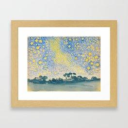 Henri-Edmond Cross Neo-Impressionism Pointillism Landscape with Stars Watercolor Painting Framed Art Print