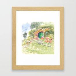 Green Door Underground House in New Zealand Framed Art Print