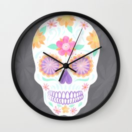 Flower Sugar Skull Wall Clock