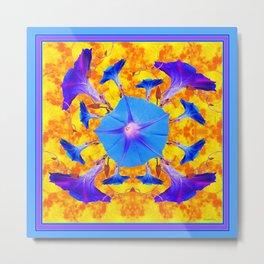 Baby Blue & Purple Morning Glories Art Metal Print