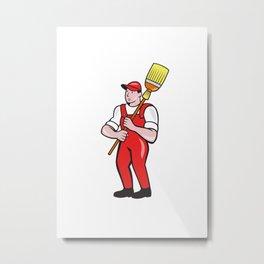 Janitor Cleaner Holding Broom Standing Cartoon Metal Print