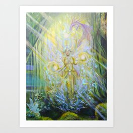 Magical Nebias forest original oil painting, Fairy tale forest painting, Fairies and dragon oil on c Art Print
