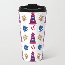 Modern blue red orange watercolor nautical pattern Travel Mug