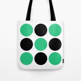 Mid Century Modern Polka Dot Pattern 9 Black and Green Tote Bag