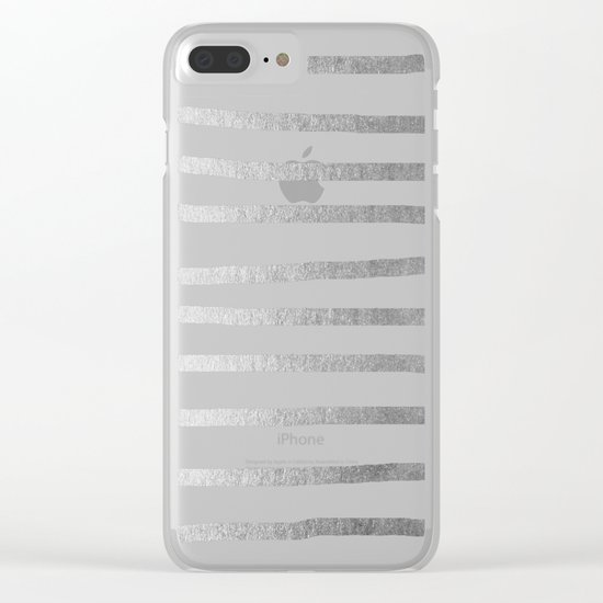 Simply Drawn Stripes Moonlight Silver Clear iPhone Case