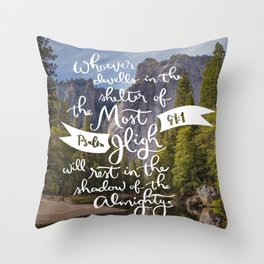 Psalm 91 with Background Throw Pillow