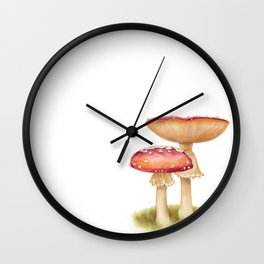 Mushroom - Fly Agaric - AMANITA MUSCARIA By Magda Opoka Wall Clock