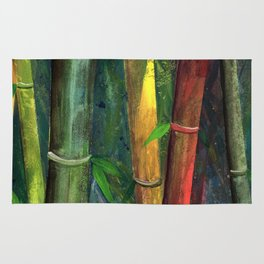Colorful bamboo painting with gouache Rug