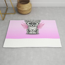 Snow Leopard Cub Fairy Wearing Glasses on Pink Rug