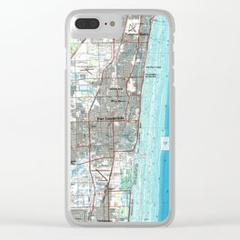 Fort Lauderdale Florida Map (1985) Clear iPhone Case