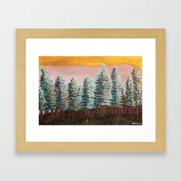 Seattle Green Pine Trees Framed Art Print