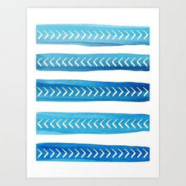 Blue Tribal Brushstrokes Watercolor Pattern Art Print