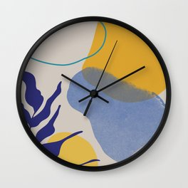 Nature shapes and plants in blue I Wall Clock