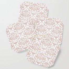 Rose Gold Glitter and White Damask Coaster