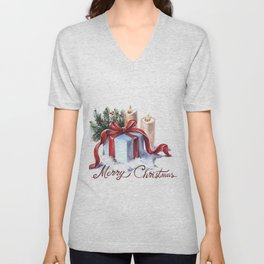 New Year's composition with candles, a gift and spruce branches. Unisex V-Neck