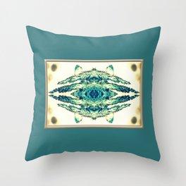 blue grass mosaic Throw Pillow