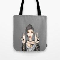 tokyo ghoul Tote Bags featuring Tokyo Ghoul, Uta Peace Sign by Ochibiyo