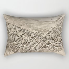 Vintage Pictorial Map of East Boston (1879) Rectangular Pillow