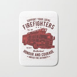 Support Your Local Firefighters Bath Mat
