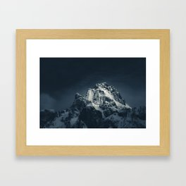 Darkness and mountain Framed Art Print