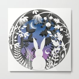 Moonlight Bunny Star Gazer Metal Print
