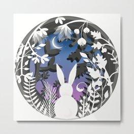 Moonlight Bunny Star Gazer Metal Print