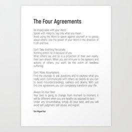 The Four Agreements #blackwhite #minimalism Art Print