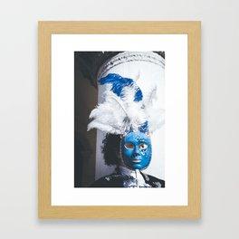 Blue carnival mask in Venice Framed Art Print