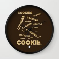 cookies Wall Clocks featuring COOKIES! by Lindsay Spillsbury