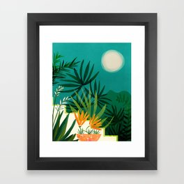 Tropical Moonlight / Tropical Night Series #1 Framed Art Print