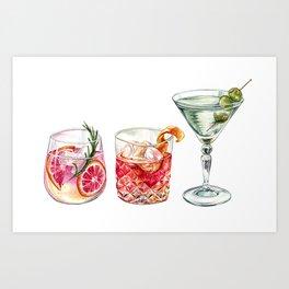 Watercolor Cocktails  Art Print