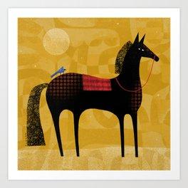 BLACK HORSE BLUE BIRD Art Print