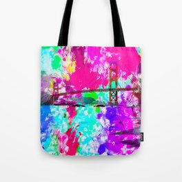 Golden Gate bridge, San Francisco, USA with pink blue green purple painting abstract background Tote Bag