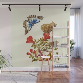 Vintage butterflies and flowers watercolor painting  Wall Mural