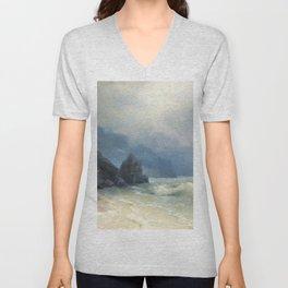 12,000pixel-500dpi - Ivan Aivazovsky - Sea coast - Digital Remastered Edition Unisex V-Neck