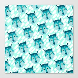 husky - teal pattern Canvas Print