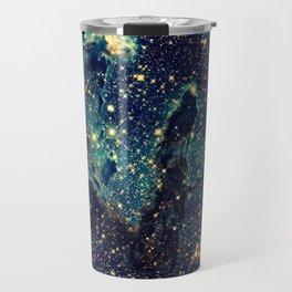Pillars of Creation GalaxY  Teal Blue & Gold Travel Mug