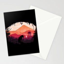 Lonely Wolf in The Cave Stationery Cards