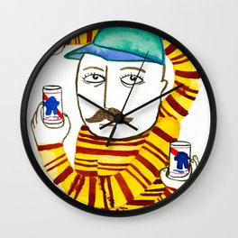 Stripes and Pabst Wall Clock