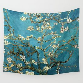 Blossoming Almond Trees, Vincent van Gogh. Famous vintage fine art. Wall Tapestry