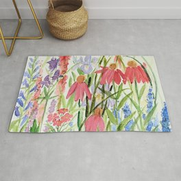 Garden Flowers Watercolor Rug