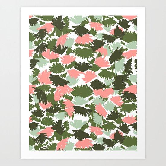 Flowers pastel pink painting watercolor abstract minimal gender neutral florals nursery baby kids Art Print