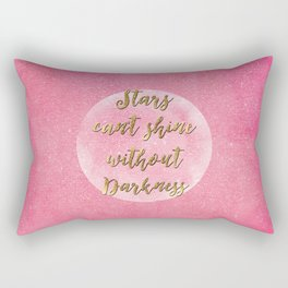 """Stars can't shine without darkness"" quote pink shining watercolor abstract paint Rectangular Pillow"