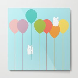 Fluffy bunnies and the rainbow balloons Metal Print