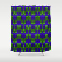 Squares and Lines in Blue and Green Shower Curtain