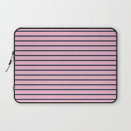 Pink and Navy Blue Horizontal Stripes Laptop Sleeve